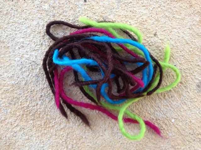 crochetbug, crochet yarn scraps, wool yarn, felted crochet, tootsie pop colors