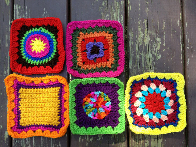 Five crochet squares for a future granny square fat bag