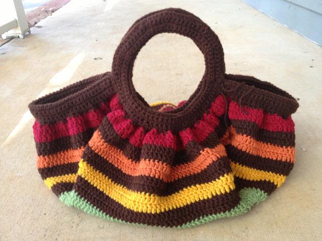 crochet granny square fat bag in need of a closure
