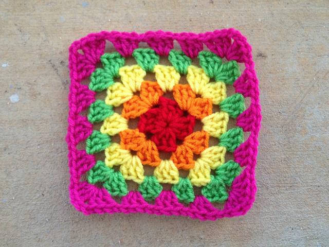 crochetbug, crochet square, granny square, multicolor crochet, crochet swap