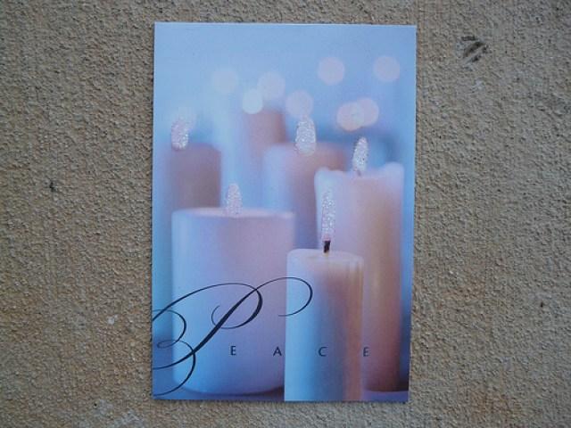 Peace and glitter, crochetbug, holiday card