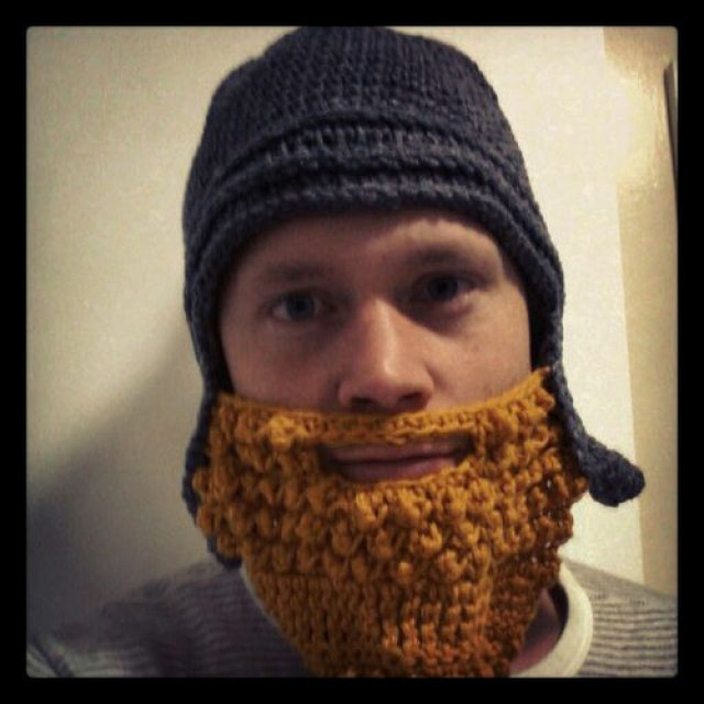 Simon wearing his crochet Assyrian helmet and beard, crochetbug, crochet helmet, crochet beard, crochet wear, crochet gifts