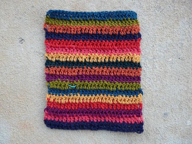 crochetbug, crochet stripes, double crochet stripes, crochet strip, multicolor crochet