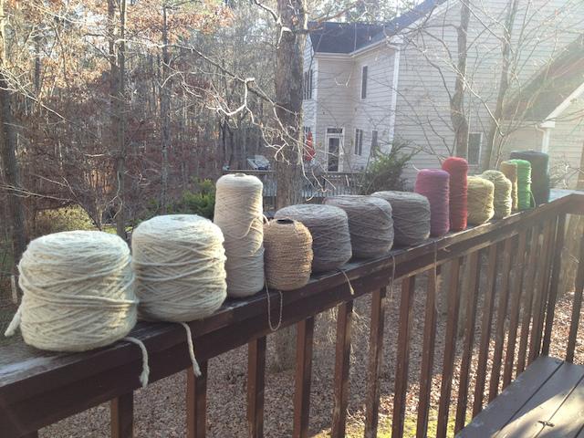 cones of crochet fibers