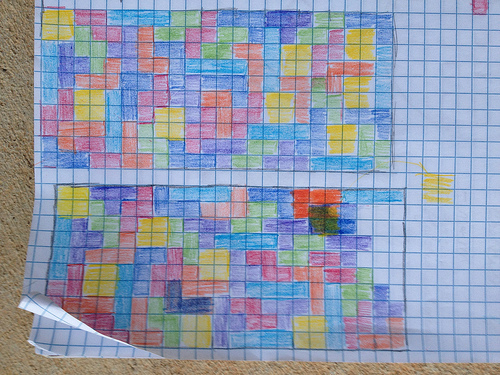 graph of a Tetris inspired crochet blanket made from crochet squares