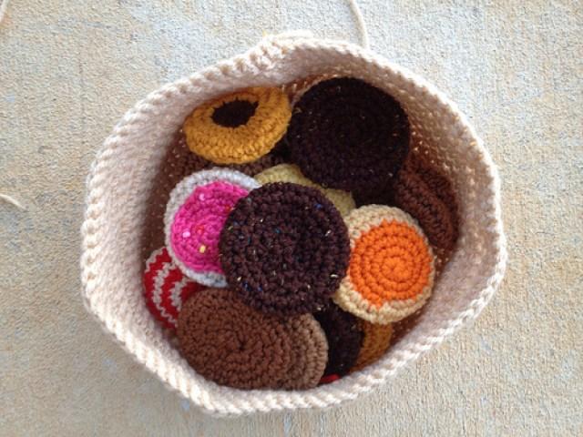 A bag full of crochet cookies