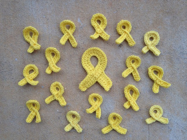 yellow cancer awareness crochet ribbons