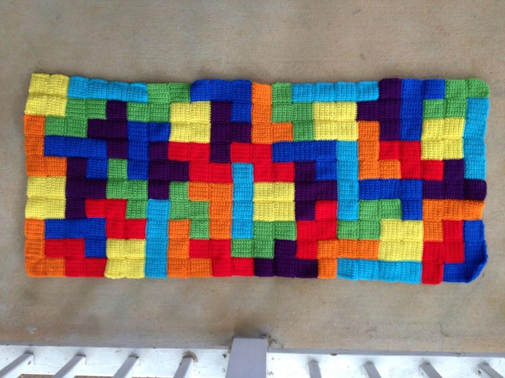 crochet tetris afghan panel