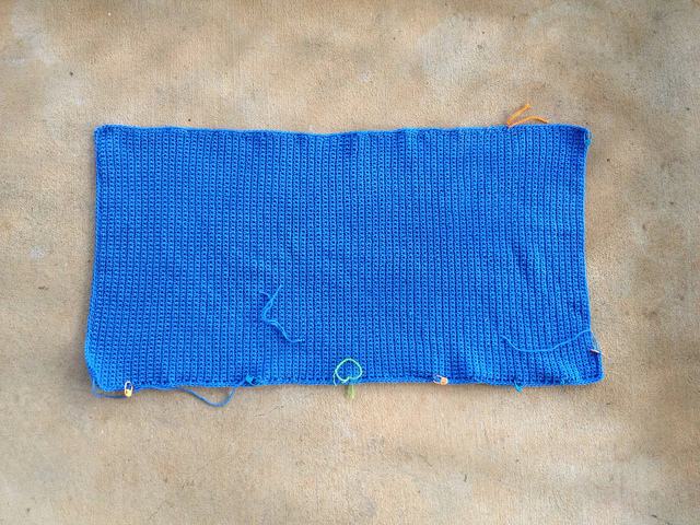 blue center panel of a crochet blanket
