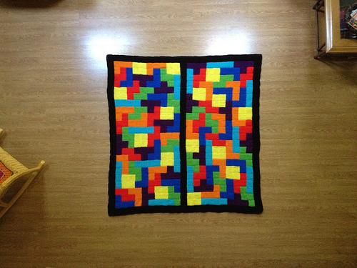 Tetris inspired crochet blanket composed of crochet squares