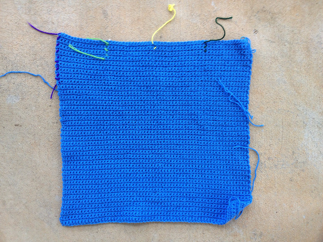 blue center panel of a crochet blanket