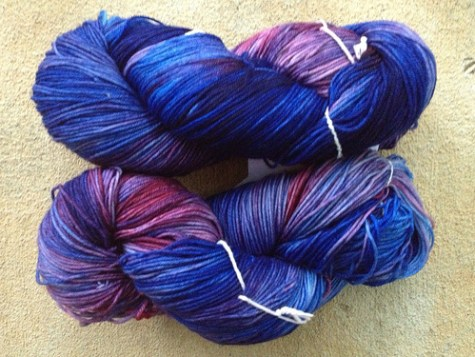 Hand-dyed yarn for a shawl for my mother