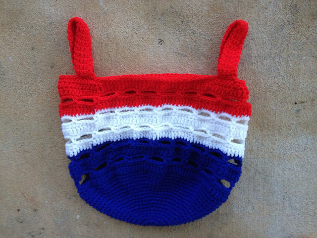 red, white, and blue stash basket