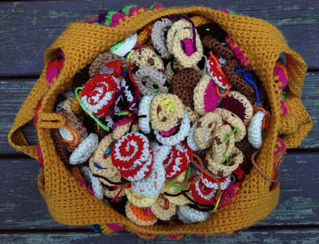 crochet fat bag with crochet cookies