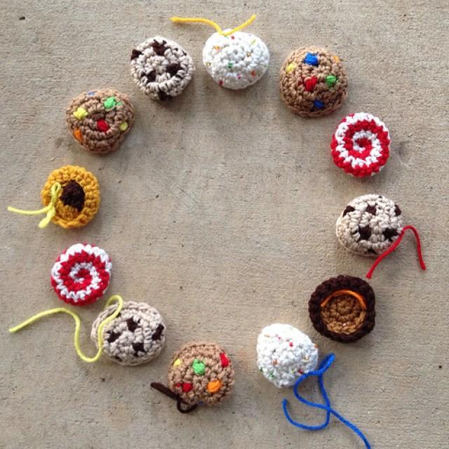 A dozen crochet cookies