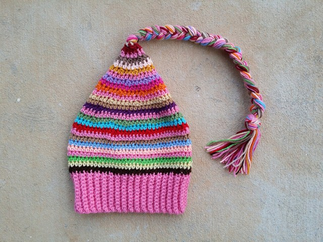 crochetbug, crochet hat, crochet stripes, crocheted, scrap yarn, flamingo palette