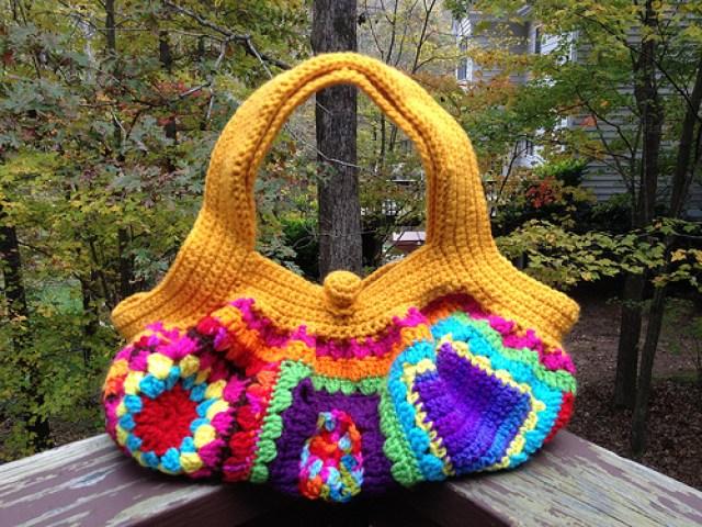 granny square purse, crochetbug, granny square fat bag, crochet fat bag, crochet purse, crochet tote, granny square tote