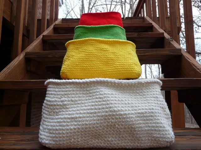four crochet baskets