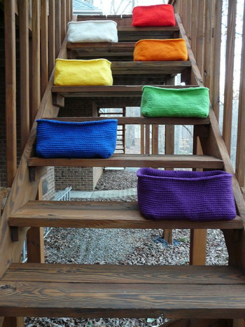 Seven crochet baskets