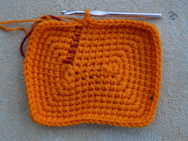 orange crochet basket