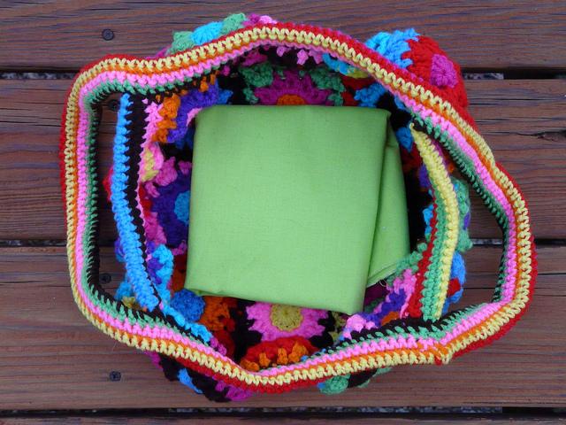 spring green fabric lining for a crochet flower crochet bag