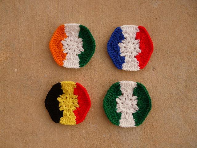 crochet hexagons for a crochet soccer ball celebrating the 2014 world cup