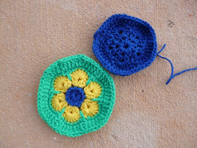 crochet hexagon crochet pentagon Brazilian flag