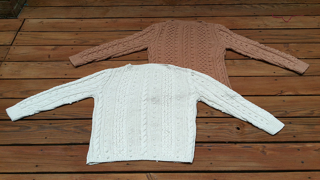 two hand knit sweaters, crochetbug, alice may, knitted cables, textured knitting