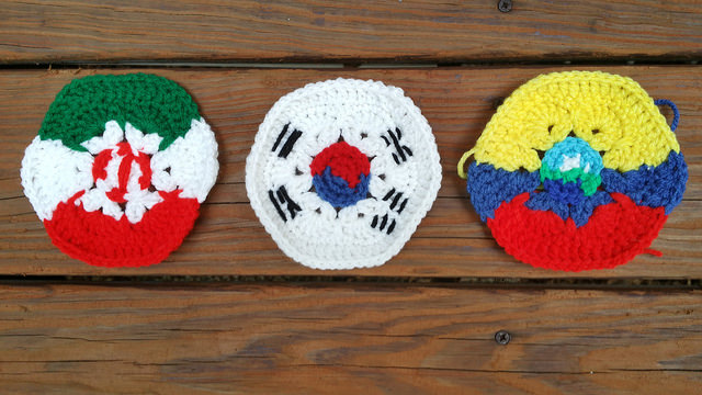 three crochet hexagons