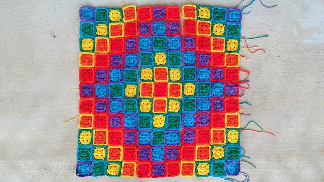 three crochet panels