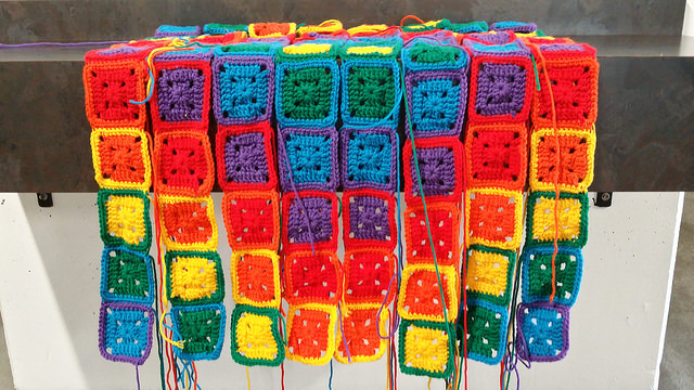 eight rows of crochet squares
