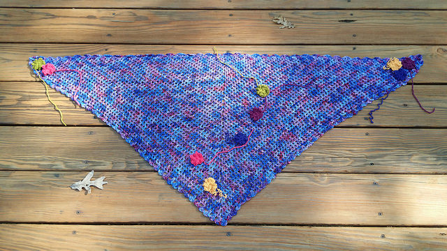 crochet flowers, crochet scarf