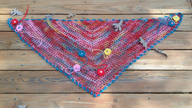 crochet scarf with crochet flowers