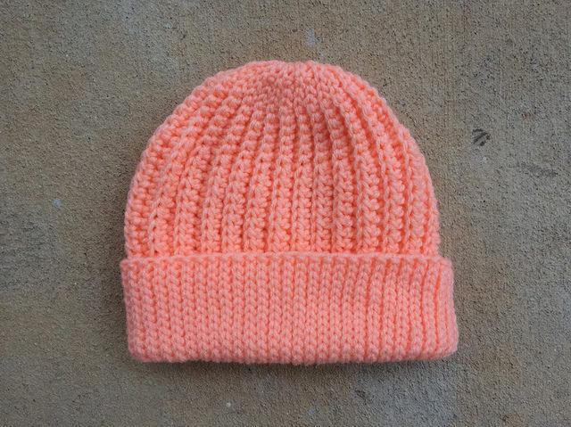 peach crochet cap