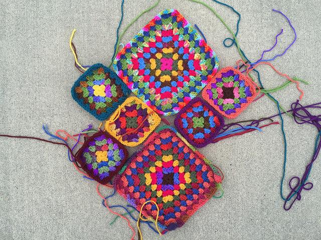 crochet square arrangement