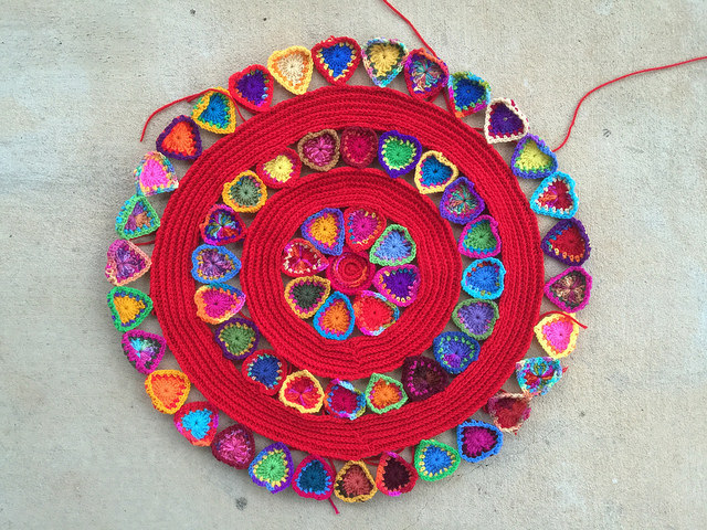 The boho heart mandala with all of the pieces joined