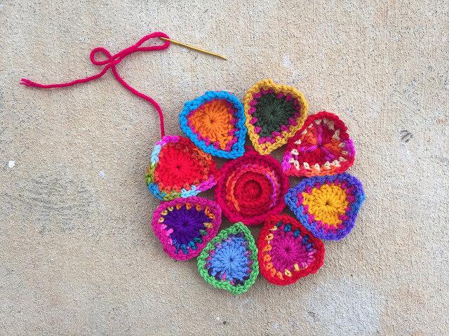 crochet heart mandala center