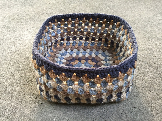crochetbug, crochet basket, granny square basket, crochet with yarn, panoply of neutrals