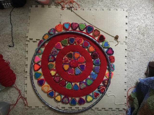 crochet mandala and hoop armature