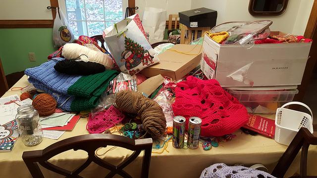 my clutter crochet desk