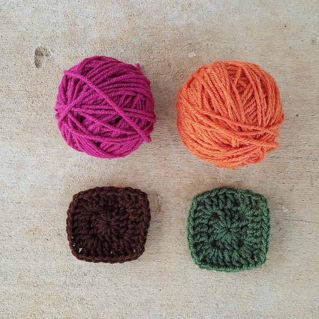 two color study crochet squares