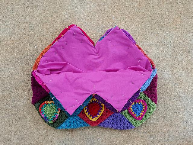 fabric lining crochet bag