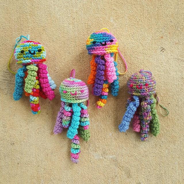 four crochet jellyfish