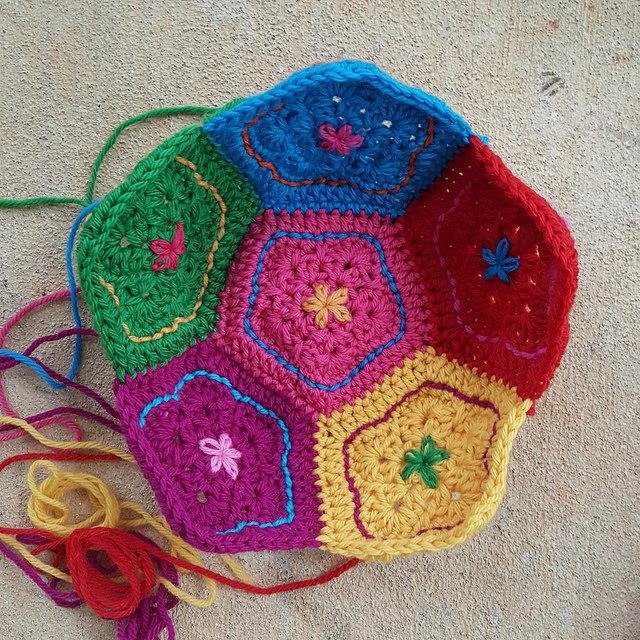 crochet dodecahedron half