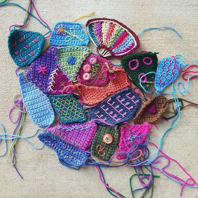 crazy quilt crochet panel