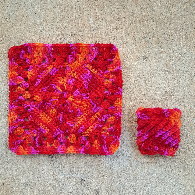 Crochet granny square and crochet coffee cup cozy free pattern