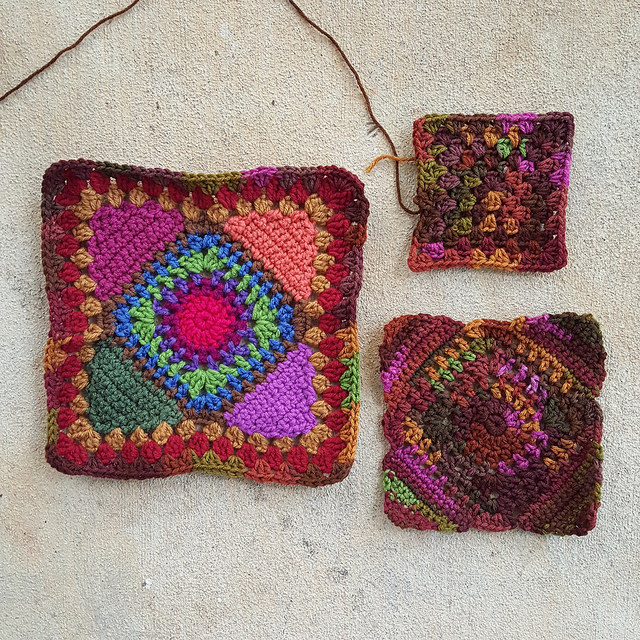 Three crochet granny squares for a crochet bag