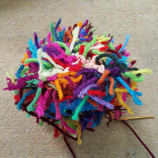 top seam of scrap crochet cat