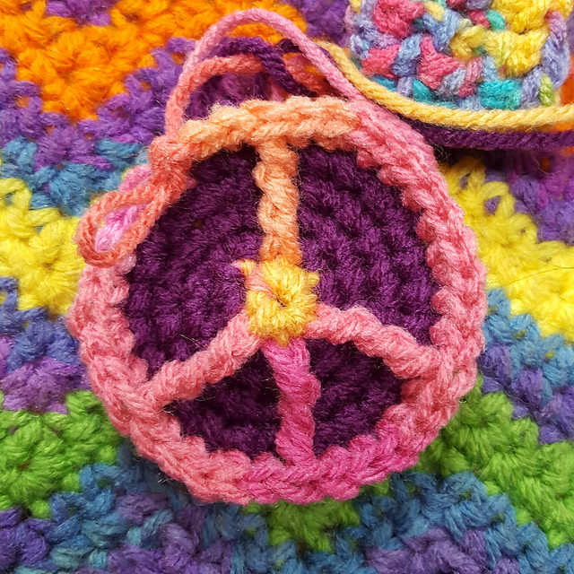 crochet peace sign evolves