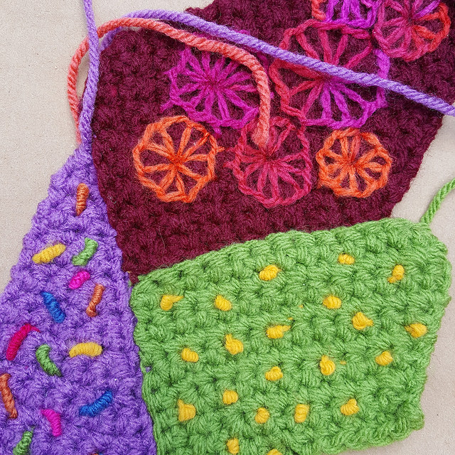 crochetbug, crochet crazy quilt pieces, embroidery on crochet